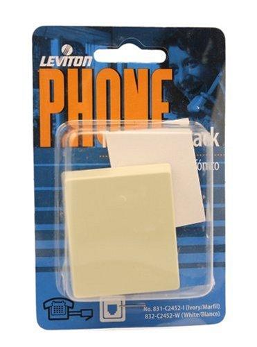Leviton C2452-I Surface Mount Phone Jack, 4 Conductor, Ivory