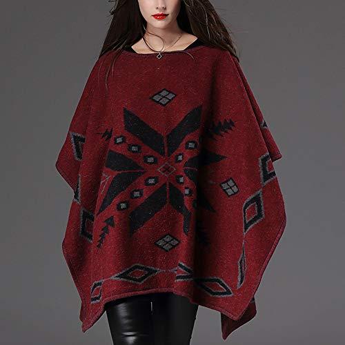 Delle Cappotto Maglia Grandi Autunno Pullover Red Scialle Maniche Lavorato Dimensioni Di Sciolti Liulife Mantello Cape A Bat Il Inverno Poncho Donne qTIZwwU