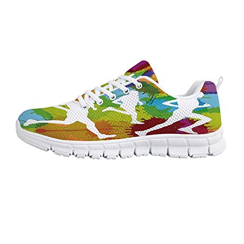 YOLIYANA Fitness Lightweight Walking Shoes,Runners Silhouettes on Watercolor Splashes Jogging Outdoors Sportsman Marathon Decorative Sneakers for Girls Womens,US Size 7.5