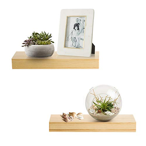 AHDECOR Natural Wood Floating Wall Shelves, Solid Pine, Display Ledge Shelf Set of 2, Clear Coat Finish