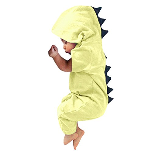 FEITONG Newborn Infant Baby Boy Girl Dinosaur Dorsal Fin Onesies Hooded Romper Jumpsuit(0-3M,Yellow) (Classic Hamper)