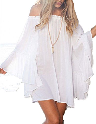 FINEJO® Sexy Off-Shoulder Sleeve Blouse Tops Dress