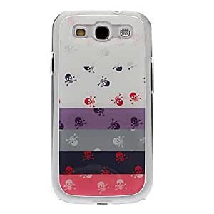 FJM Stripe Skull Drawing Pattern Neutral Stiffiness Silicone Gel Back Case Cover for Samsung Galaxy S3 I9300
