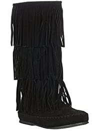 Womens Apache-4 Moccasin Fringe Boots