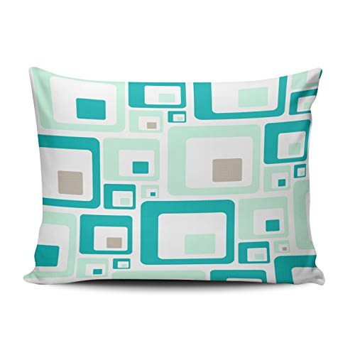 - WULIHUA Home Decoration Throw Pillow Covers Aqua Mint and Turquoise Retro Mid Century Modern Lumbar Custom Sofa Cushion Cover Pillowcase Size 12X20 Inch One Sided Printed Chic Design
