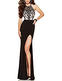 Embroidery Decorated Halter Neckline Evening Gown