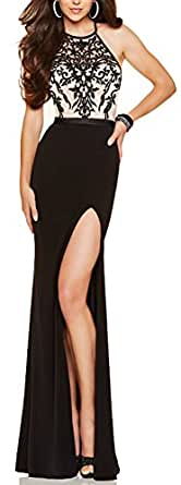 made2envy Embroidery Decorated Halter Neckline Evening Gown (S, Black) V1011SB