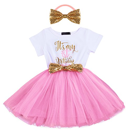 Baby Girls Newborn Christmas Birthday Party Cake Smash Princess Dress up Bowknot Sequin Tulle Tutu Dance Ball Gowns Pink One Year+ Gold Headband ()
