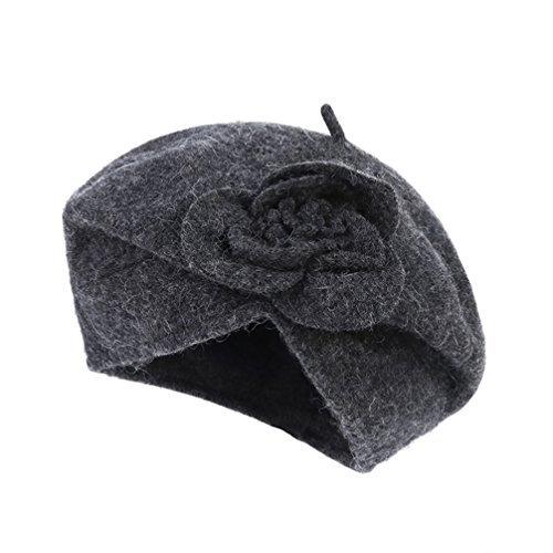 Winter Beret (Dantiya Women's 100% Wool Cloche Hat Bucket Floral Winter Vintage Beret Beanie Hat (One Size, Dark Grey))