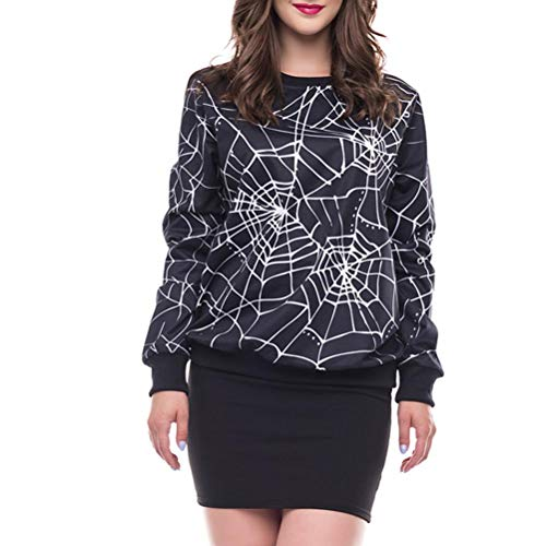 OSTEYL Women O-Neck Scary Halloween Spider Web 3D Print Party Long Sleeves Top Sweatshirt(Black,Large)