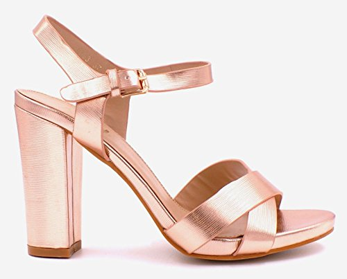 SHU CRAZY Womens Ladies Strappy High Block Heel Platform Open Toe Fashion Party Evening Sandals Shoes - D92 Rose Gold yoR1NV