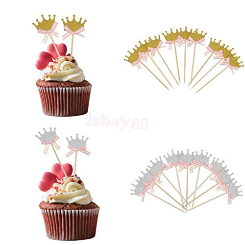 BROSCO 30pcs Glitter Crown Cake Topper w/Bow Decor Birthday Baby Shower Cupcake Picks