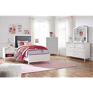 FurnitureMaxx Haslev Chipped White Wood Twin Bed, Dresser, Mirror, 2 Nightstands