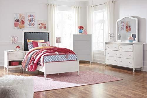 FurnitureMaxx Haslev Chipped White Wood Twin Bed, Dresser, Mirror, 2 Nightstands