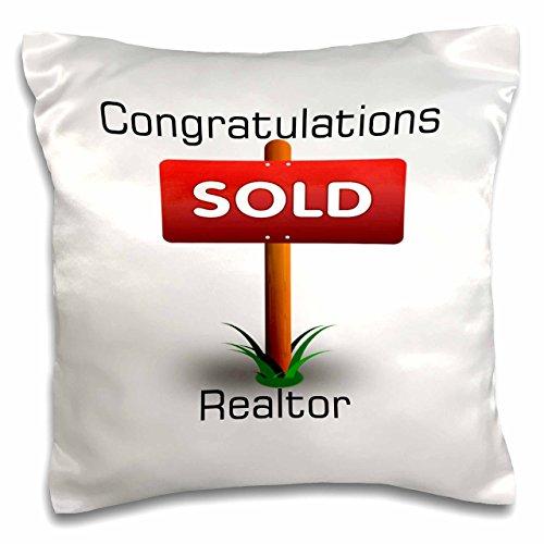 3d Rose imagen de felicitaciones para de bienes raíces con cartel se vende funda de almohada, 16' x 16'