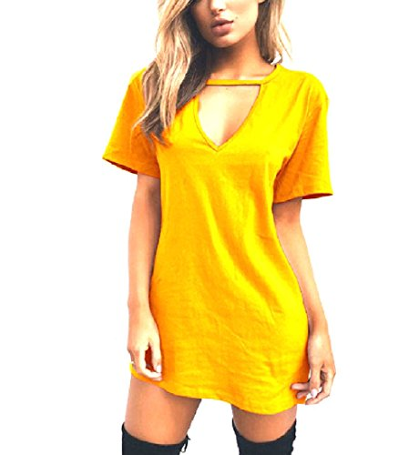 Tee Halter Short Dress Solid Colored Yellow Midi Coolred Sleeve Women Sexy OqARnT6