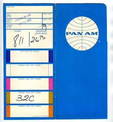 1972 Pan American World Airways Ticket Jacket and Tickets to Hawaii