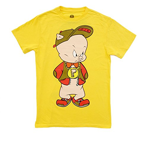 Looney Tunes Hip Porky Pig Front and Back Adult T-Shirt (Adult Small)
