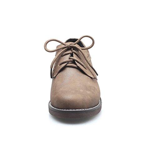 Zapatos Para Liso de YORWOR Mujer Cuero Cordones Marr dSxXv