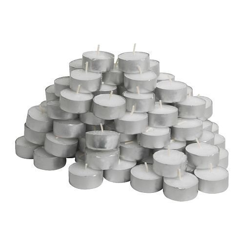 IKEA Glimma Unscented Tealights, White, 100 Count (Pack Of 3)