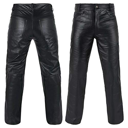 DEFY Men's Cow Skin Full Grain Motorcycle Heavy Duty Stretchable Leather Pants (34