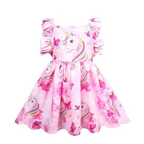 Kids Girl Cartoon Dinosaur/Unicorn Print Tunic Casual Princess Party Dress Sundress (Unicorn-Rose, 2-3 Years) -