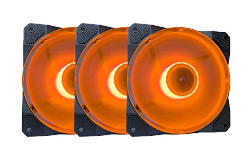 APEVIA CO312L-OG Cosmos 120mm Orange LED Ultra Silent Case Fan w/ 16 LEDs & Anti-Vibration Rubber Pads (3 Pk)