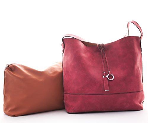 Schultertasche, Diese Damen Handtasche gibt es in den Farben Beige, Green, Yellow, Black, Red. (Beige)