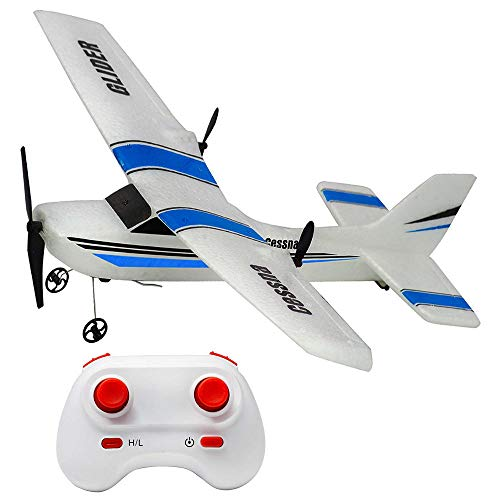 RC Plane Ready to Fly, 2.4Ghz 2 Channels Remote Control Airplane, Durable EPP Built-in 3-Axis Gyro Glider Airplane, Stability Flight RC Aircraft for Kids Boys Beginner, Upgraded with Powerful Motor