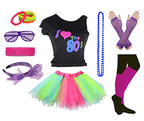 Girls I Love The 80's Disco T-Shirt for 1980s Theme Party Outfit (Rainbow02, 8-10 Years)