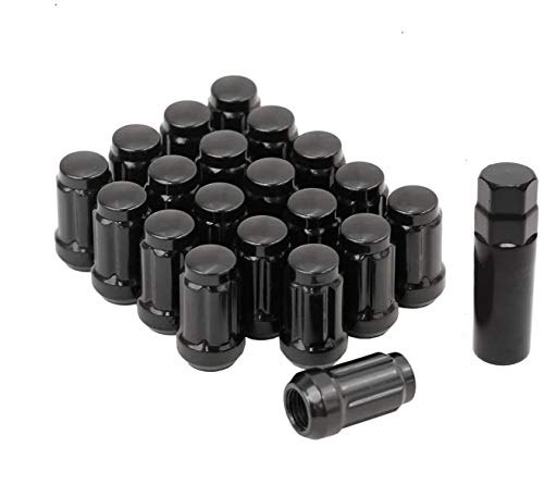 (Bill Smith Auto Performance 20 PCs 6 Spline Black Lug Nuts with Key Cone Seats Long Closed End for Buick Cadillac Chevrolet GMC Chrysler)