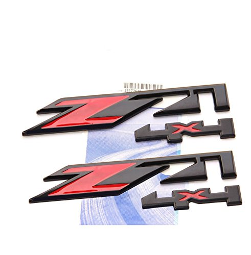 Yoaoo 2x OEM Black Red Z71 4x4 Emblems Badges for Gmc Chevy Silverado Sierra Tahoe Suburban 1500 2500Hd 3500Hd Decal