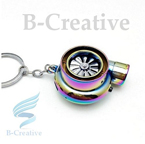 B-Creative JANUARY SALE! UK Premium Quality LED Turbo Supercharger Ferrari Turbine Rechargeable USB Electronic Cigarette Lighter Keyring KeyChain 2017 (Rainbow/Neon Chrome): Toys & Games