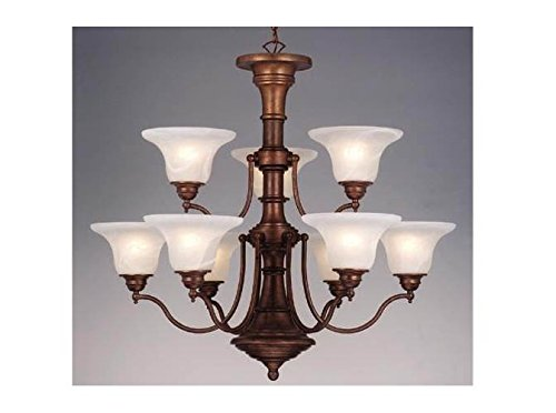 Vaxcel CH30309WP Standford 9 Light Chandelier, Weathered Patina Finish