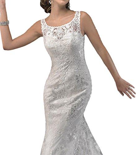 Victory Bridal Hochwertig Elfenbein Spitze Hundkragen meerjungfrau Hochzeitskleider Brautkleider Brautmode
