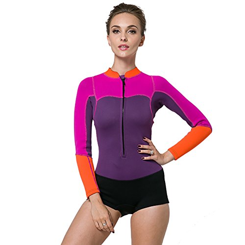 Lynddora Womens One Piece Long Sleeve 2MM Neoprene Diving Wetsuit Top Warm Protection (Purple Pink, US L/Tag - Wetsuit Female