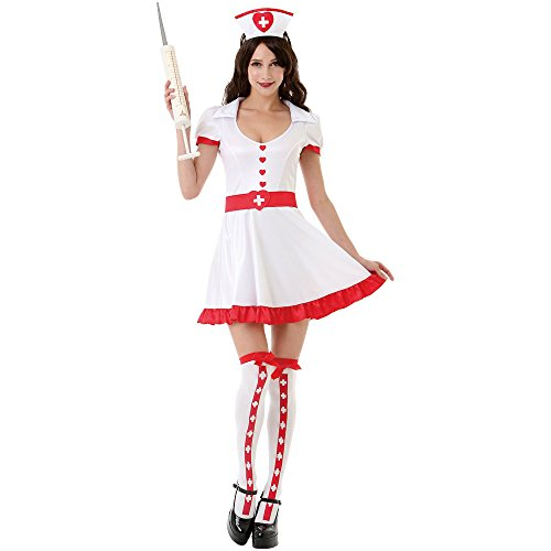 Night Shift Nurse Women's Sexy Halloween Role Play Costume Scrubs, White, Medium