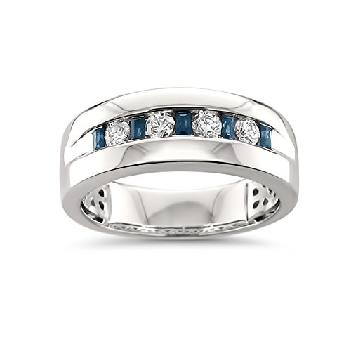14k White Gold Sapphire Baguette & Round Diamond Men's Comfort Wedding Band Ring (1/2 cttw, H-I, SI2-I1), Size 12