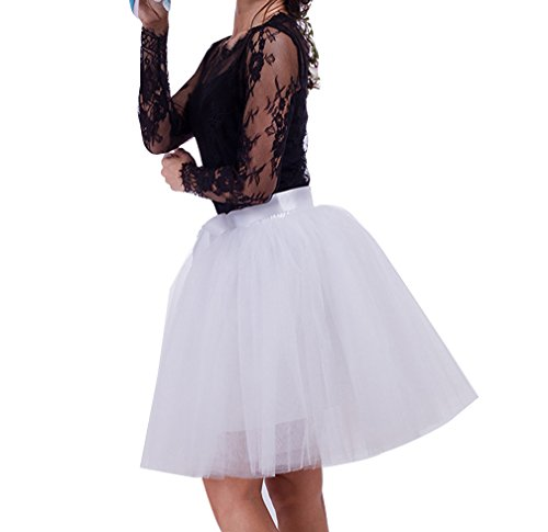 En Jupe Pettiskirt Femme Blanc longue Jupe Tutu Jupon Pliss jupon Courte Tulle Petticoat Mi 8 Couches Ballet SdAq6d