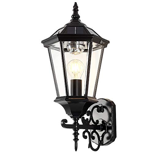 2 in 1 Electric & Solar Wall Lantern Outdoor, Dusk to Dawn Wall Light, LED Wall Mount Light Fixture, 21