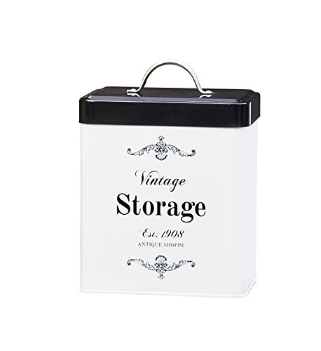 Amici Home, A7CDI021R, Antique Shoppe Vintage Storage Metal Canister, Food Safe, Push Top Lid, 96 Ounces, Medium (Vintage Dog Food Container)