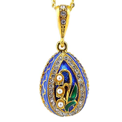 World Faith 8675-G Lilies of The Valley Sterling Silver 925 Gold Plate Enameled Faberge Style Egg Pendant with Pearls 1