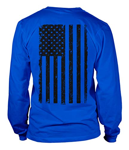 T-shirt Not Drunk Am - Distressed Black USA Flag - United States Unisex Long Sleeve Shirt (Royal - Back Print, Large)