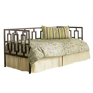 miami metal daybed frame with squared tubing and geometric design coffee finish twin