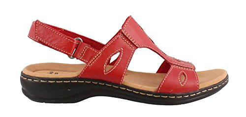 Clarks Women's Leisa Lakelyn Flat Sandal, Red Leather, 8.5 M US (Shoes For Women Online)
