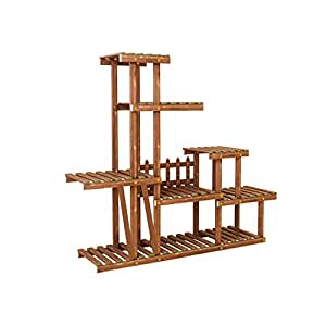 Solid Wood Flower Rack Indoor Multi - Storey Flower Pot Rack Balcony Living Room With Wheel Multi - Functional Flower Rack (6 Kinds Of Styles Optional) ( Color : E )