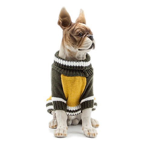 Scheppend Pet Cats Turtleneck Jumper Sweaters Pullover Tops Dogs Cozy Holiday Winter Sweater, Yellow Small by Scheppend