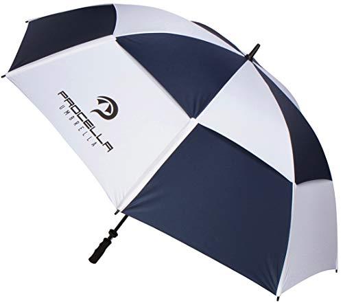 Procella Golf Umbrella Windproof 68 Inch Extra Large Oversized Rain Stick Umbrellas for Sports, Men & Women, Sun & UV Protection, Waterproof, Big Heavy Duty (Navy Blue/White, 68 Inch Double ()