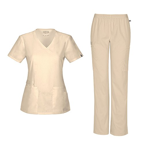 Cherokee Women's Workwear Flex With Certainty Mock Wrap Top 44801A & Mid-Rise Elastic Waist Pant 44200A Scrub Set (Antimicrobial) (Khaki - Large / X-Large)