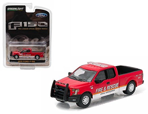 2015 Ford F-150 Fire & Rescue Special Service Truck Vehicle * Hobby Exclusive * 2016 Greenlight Collectibles Limited Edition 1:64 Scale Die-Cast Vehicle (Flatbed Truck Tow)